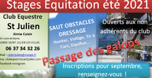 STAGES EQUITATION ETE 2021